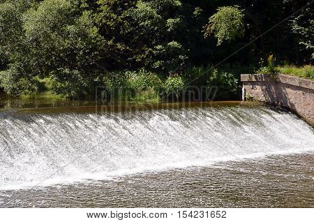 Small River Sluice In Summer Detail Front Photography