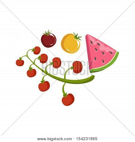 Tomato And Watermelon Product Rich In Folic Acid. Simple Colorful Flat Vector Illustration On White Background.