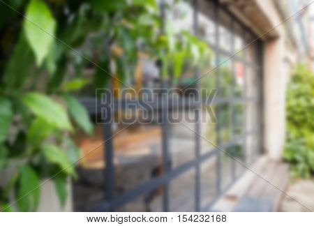 Exterior blur of street coffee shop stock photo