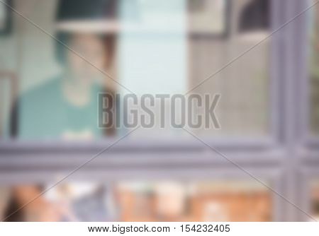 Blur customer of street coffee shop stock photo