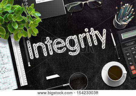 Integrity Concept on Black Chalkboard. 3d Rendering. Toned Illustration.