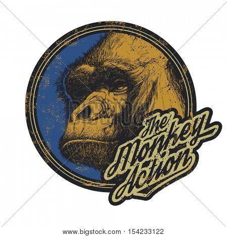 Gorilla Head Logo Mascot Emblem. Vector illustration.