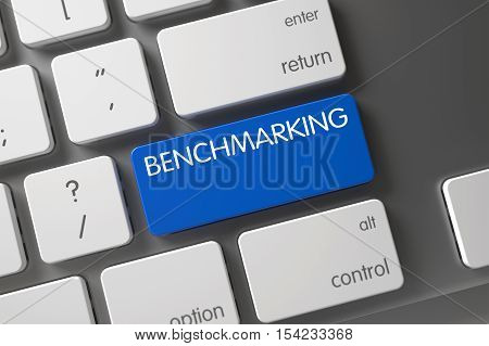 Benchmarking Concept Modern Laptop Keyboard with Benchmarking on Blue Enter Button Background, Selected Focus. 3D Illustration.