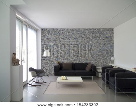 living room interior with natural stone wall and copy space for your own images
