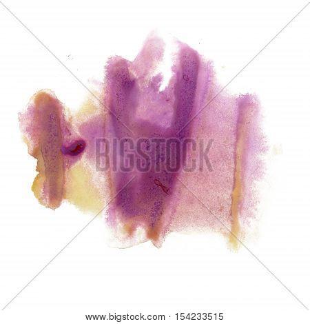 ink splatter watercolour dye liquid yellow violet watercolor macro spot blotch texture isolated on white