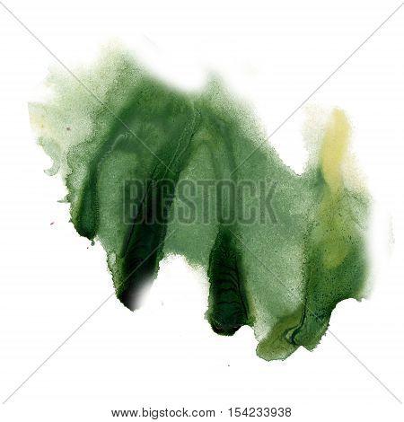 ink splatter watercolour dye liquid watercolor green macro spot blotch texture isolated on white