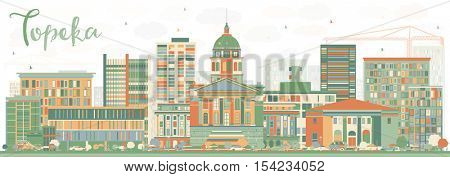 Abstract Topeka Skyline with Color Buildings. Vector Illustration. Business Travel and Tourism Concept with Modern Architecture. Image for Presentation Banner Placard and Web Site.