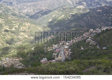 The town of Chulumani surrounded by coca plantations. October 12 2012 - Sud Yungas Bolivia