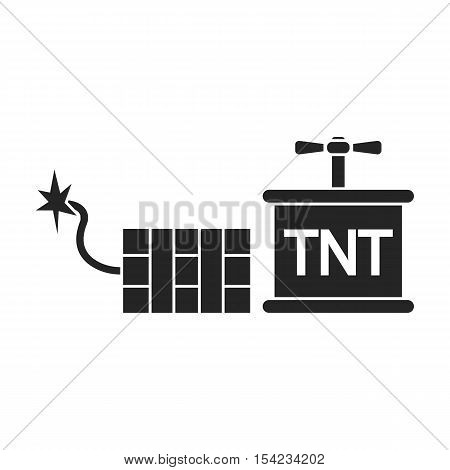 Dynamite icon in black style isolated on white background. Mine symbol vector illustration.