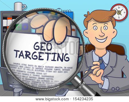 Geo Targeting. Business Man Showing Paper with Text through Magnifier. Colored Modern Line Illustration in Doodle Style.
