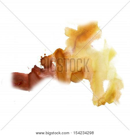 ink splatter watercolour dye liquid watercolor yellow brown macro spot blotch texture isolated on white