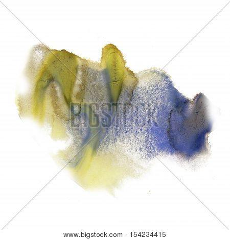 ink splatter watercolour dye liquid watercolor yellow blue macro spot blotch texture isolated on white