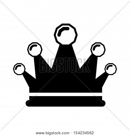 black silhouette crown king with precious stones vector illustration
