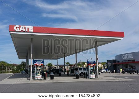 JACKSONVILLE, FL - OCTOBER 30, 2016: A Gate Petroleum gas station in Jacksonville. Gate Petroleum is headquartered in Jacksonville and has over 225 gas stations in 6 states with over 2,200 employees.