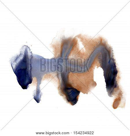 ink splatter watercolour dye liquid watercolor macro blue brown spot blotch texture isolated on white