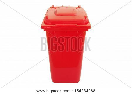 Red bin for hazardous waste isolated on white background.