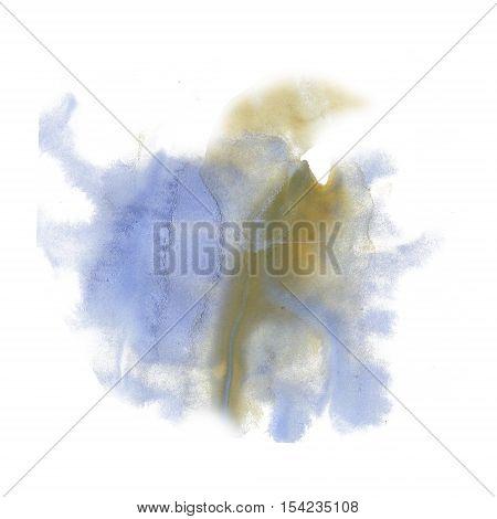 ink splatter watercolour dye liquid watercolor macro spot blue yellow blotch texture isolated on white