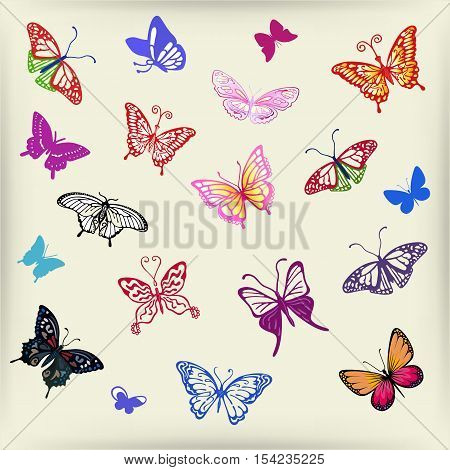 Colored butterfly logo set vector illustration isolated on background