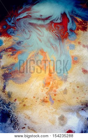 Abstract background with blots and spreads droplets of different colors on paper close-up, filter