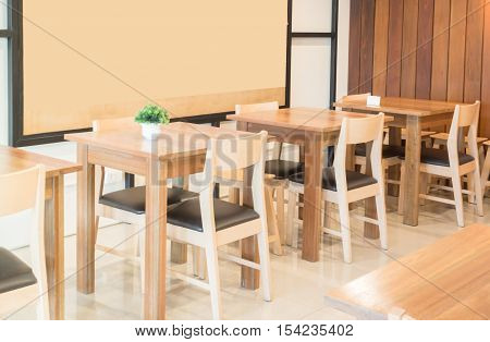 Interior furniture of street coffee shop, stock photo