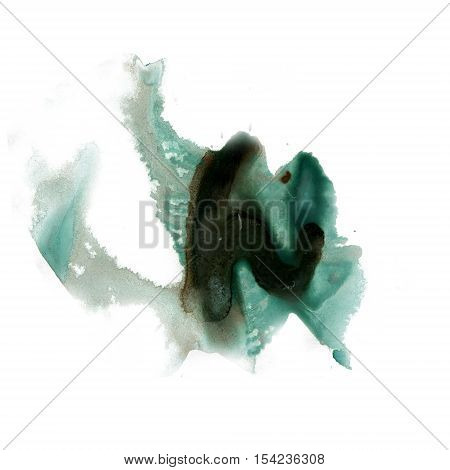 splatter ink black green watercolour dye liquid watercolor macro spot blotch texture isolated on white