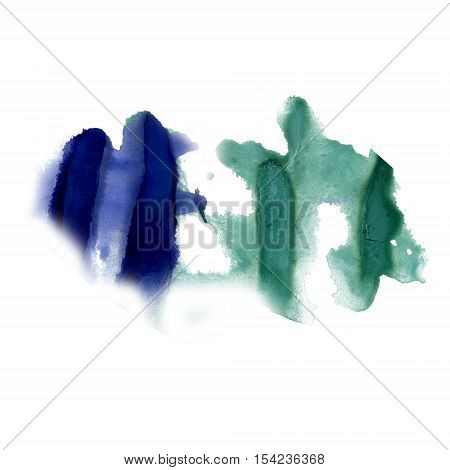 splatter ink blue green watercolour dye liquid watercolor macro spot blotch texture isolated on white