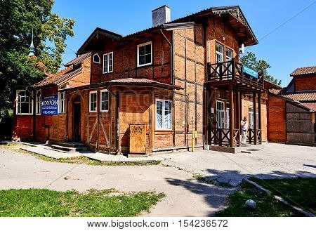 Zelenograd Russia - July 16 2016: Tourist information center in Zelenograd city. Curonian spit Kaliningrad region. Russia