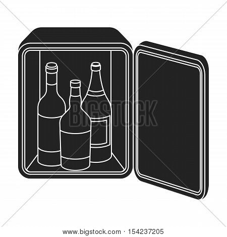 Mini-bar icon in black style isolated on white background. Hotel symbol vector illustration.