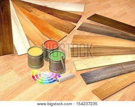 New oak parquet and paints on wooden floor. 3d render