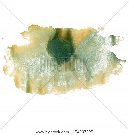 splatter ink watercolour dye green yellow liquid watercolor macro spot blotch texture isolated on white