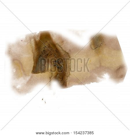 splatter ink watercolour dye brown liquid watercolor macro spot blotch texture isolated on white