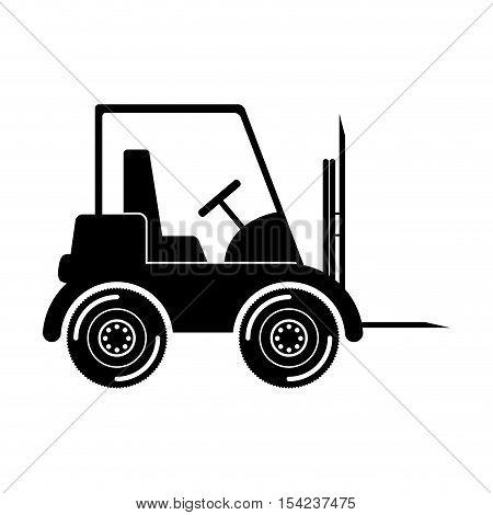 black silhouette forklift truck with forks vector illustration