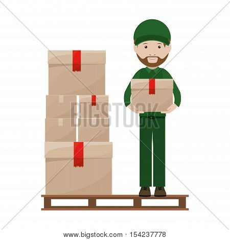 stowage with package and person dispatcher vector illustration
