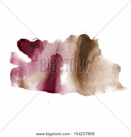 splatter ink watercolour dye liquid brown watercolor macro spot blotch texture isolated on white