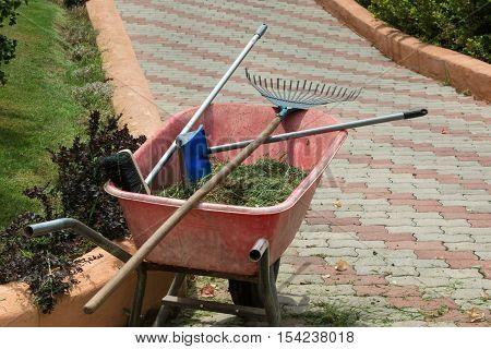 Red Wheelbarrow With Rake, Broom And Grass