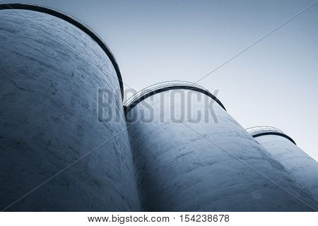 Large Silos Tanks, Blue Toned Photo