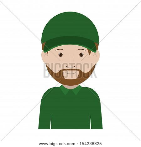 dispatcher with green uniform and hat vector illustration