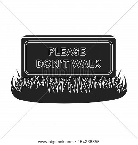 Please do not walk icon in black style isolated on white background. Park symbol vector illustration.