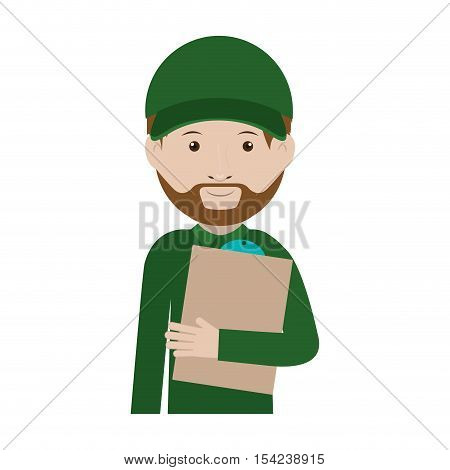 half body messenger with table notepad vector illustration