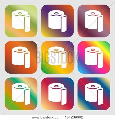 Toilet Paper Icon Sign. Nine Buttons With Bright Gradients For Beautiful Design. Vector