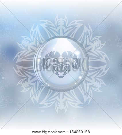 A vector illustration of a transparent snow globe in a snowflake frame on the blurred background with a zodiac sign Aries. Includes transparent objects and opacity masks.
