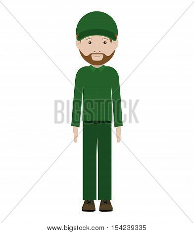 men dispatcher with green uniform and hat vector illustration