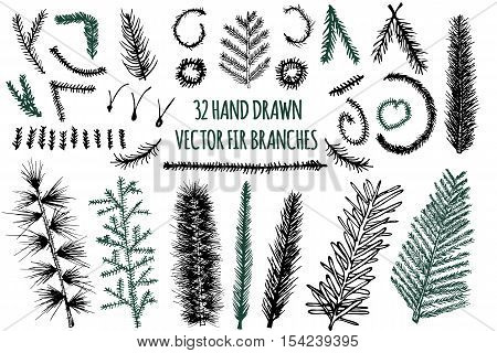 Set of 32 Hand Drawn Fir Branches, Christmas Tree, Vector elements isolated on white background.