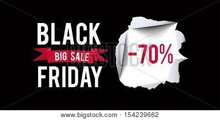 Black Friday sale design template. Black Friday 70 percent discount banner with black background. Vector illustration