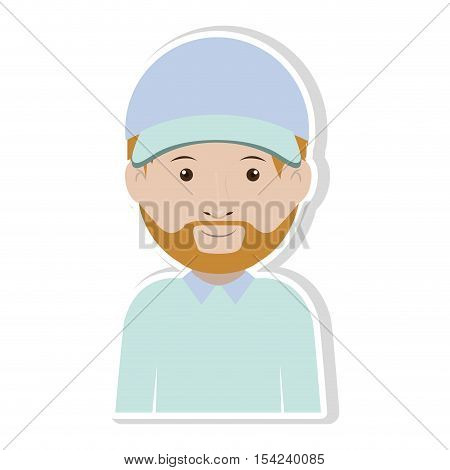 silhouette dispatcher with uniform in pastel color vector illustration