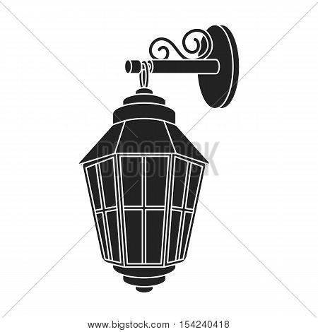 Street lantern icon in black style isolated on white background. Light source symbol vector illustration
