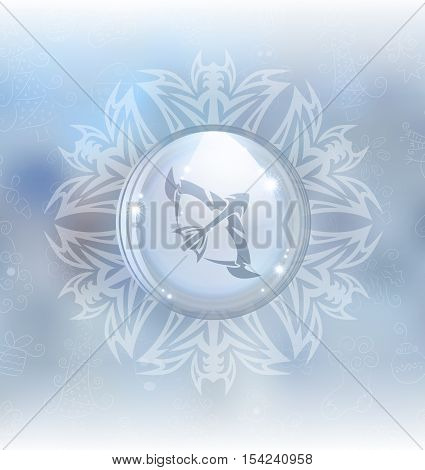 A vector illustration of a transparent snow globe in a snowflake frame on the blurred background with a zodiac sign Sagittarius. Includes transparent objects and opacity masks.