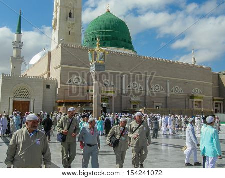 Medina,Saudi Arabia-Nov 5,2008:Pilgrims at the Nabawi Mosque at Medina,Saudi Arabia.Nabawi mosque originally built by the Islamic prophet Muhammad,situated in the city of Medina in Saudi Arabia.