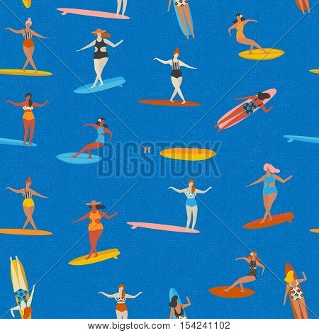 Art deco beach surfing poster in vector. Girl surfers in bikini seamless pattern in vector. Flat style illustration.