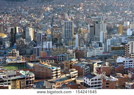 View of La Paz Bolivia. La Paz is the highest administrative capital in the world